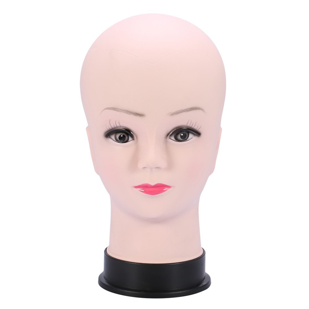 SODIAL PVC Mannequin Head Model Female Wig Making Hat Display with Base Eyelash Makeup Practice Traning Bald Head Model 152518