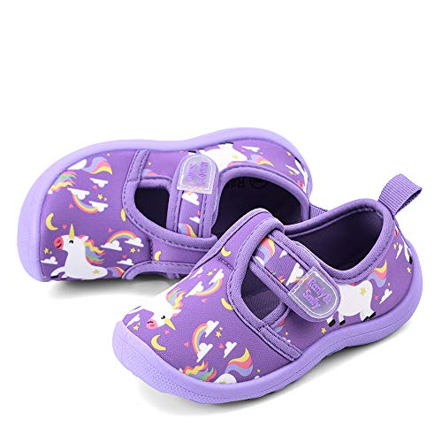 (RANLY & SMILY Toddler Water Shoes Girls Beach Sandals, Baby Walking Sneakers for Beach, Pool, Swim Purple/Rainbow/Unicorn US 11 Little Kid)