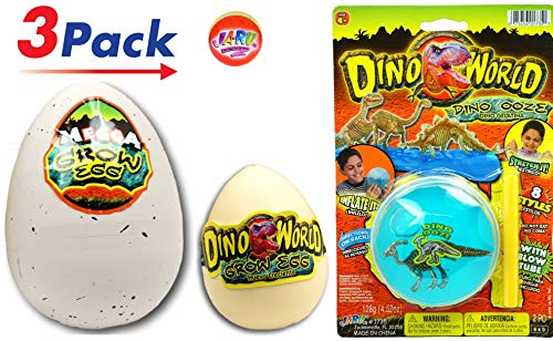 JA-RU Hatching Eggs Large and Medium and Dino World Blow Slime (Pack of 3) 1745-1747-1735