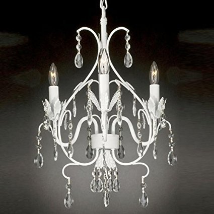 Wrought Iron Crystal Chandelier Lighting Country French White , 3 Lights , Ceiling FixtureClose Out