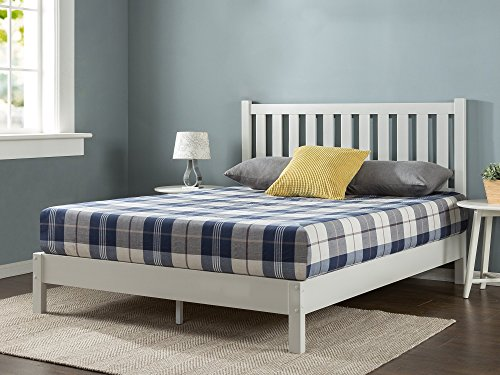 Platform Bed White Queen (Zinus Deluxe Wood Platform Bed with Slatted Headboard/White / No Box Spring Needed/Wood Slat Support, Queen)