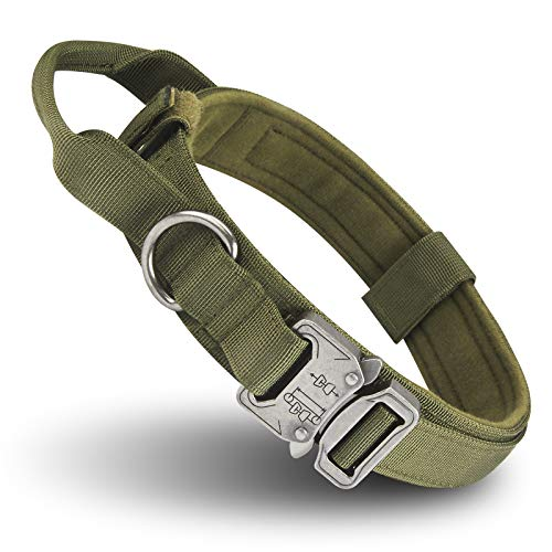 Tactical Dog Collar – Heavy Duty Dog Collars – 1.5″ Width Adjustable Military Metal Buckle Collars with Control Handle for Dog Training