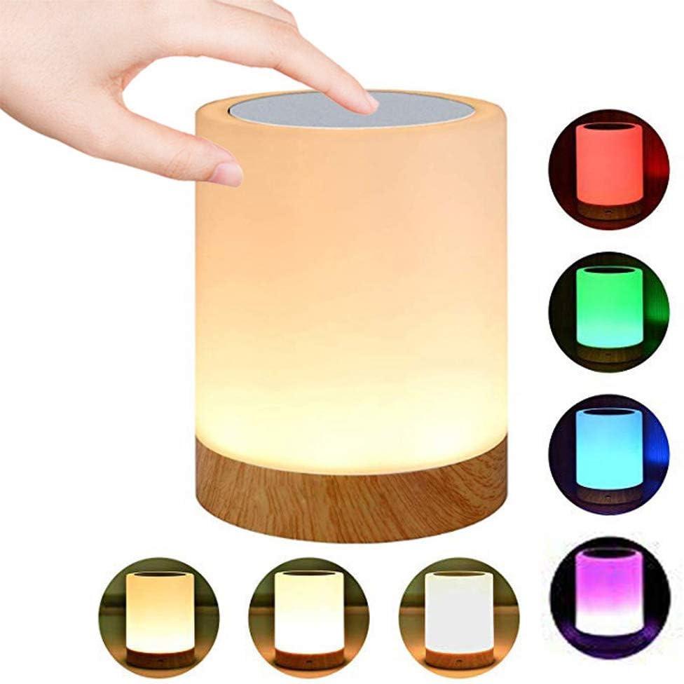 Caxmtu Lámpara de noche LED táctil lámpara de noche para dormitorio de niños, recargable, regulable, luz blanca cálida + cambio de color RGB