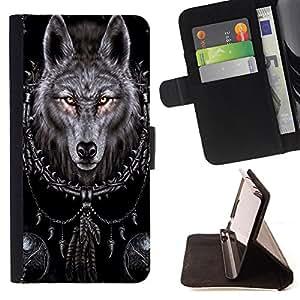 Dragon Case- Caja de la carpeta del caso en folio de cuero del tir¨®n de la cubierta protectora Shell FOR Samsung Galaxy G360 G3608 G3606- Wolf Retro