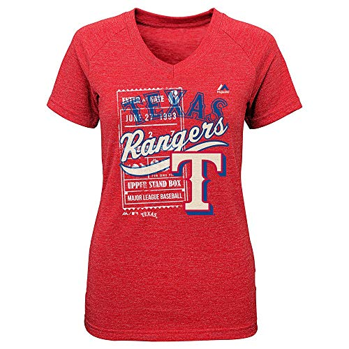 Outerstuff Texas Rangers Majestic MLB Youth Red Terrorizing Play V-Neck T-Shirt (Texas Rangers V Neck)