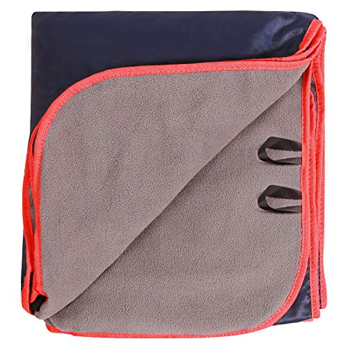 REDCAMP Large Waterproof Stadium Blanket for Cold Weather, Soft Warm Fleece Camping Blanket Windproof for Outdoor Sports, Blue