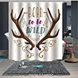 Born to Fish Shower Curtain AngelDOU Antler Decor Printed Fabric Shower Curtain Colorful Born to Be Wild Slogan Cartoon Style Vivid Horns and Floral Elements De Home Decorations for Bathroom