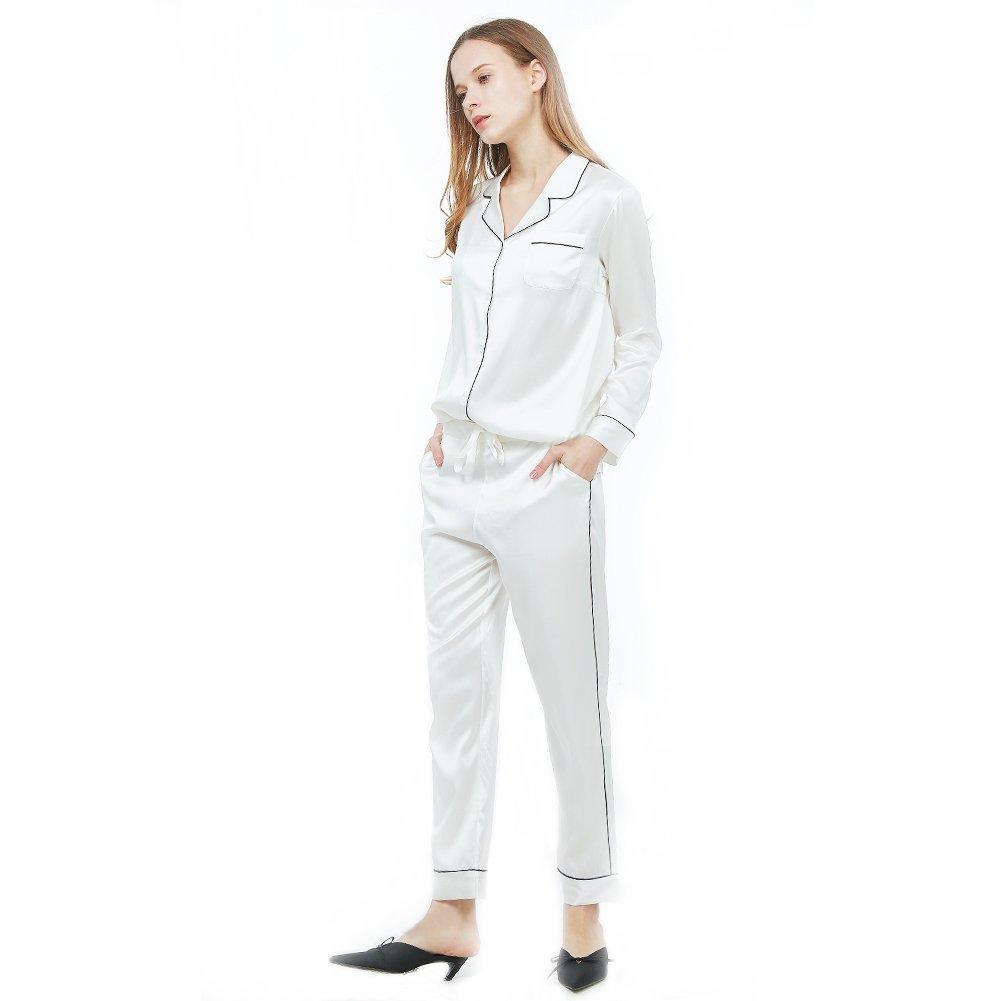 Amazon.com: R.Rgrenen Silk Pajamas Women Satin Nightgown V-Neck Soft Slip Sleepwear Long Sleeve Lightweight Pajama Set(0711001,White,S): Home & Kitchen