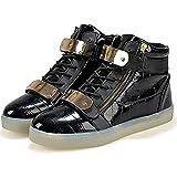 Black LED Shoes High Top Men Women Light Up Shoes USB Charging Metal Velcro Flashing Sneakers 45