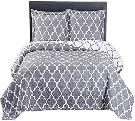 Navy /& White Meridian Oversized Microfiber Coverlet Quilt Set w//Pillow Shams