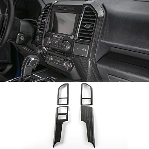 Voodonala Black Grain Central Contral Panel Air Conditioning Outlet Vent Covers Frame for Ford F150 2015 2016 2017