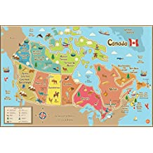 WallPops WPE1391 Kids Canada Dry Erase Map Decal, Multi-Color