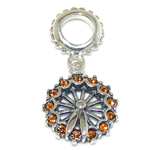 Pro Jewelry 925 Solid Sterling Silver Dangling Ferris Wheel with Orange Crystals Charm Bead
