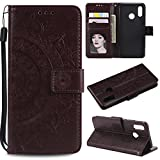 Floral Wallet Case for Huawei P20 Lite,Strap Flip Case for Huawei P20 Lite,Leecase Embossed Totem Flower Design Pu Leather Bookstyle Stand Flip Case for Huawei P20 Lite-Brown