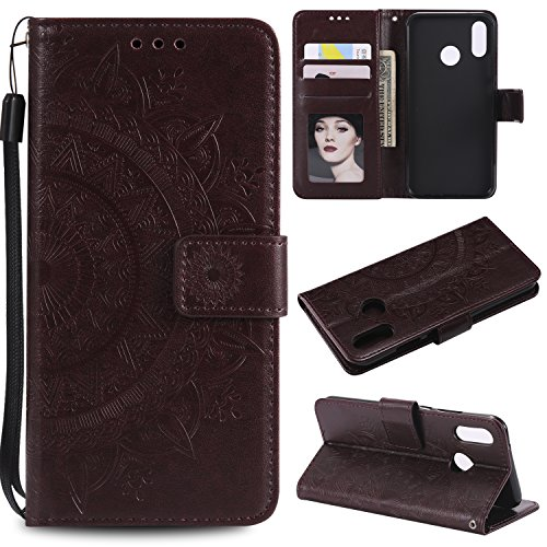 Floral Wallet Case for Huawei P20 Lite,Strap Flip Case for Huawei P20 Lite,Leecase Embossed Totem Flower Design Pu Leather Bookstyle Stand Flip Case for Huawei P20 Lite-Brown by Leecase
