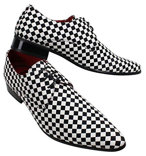 Herrenschuhe Italienisches On Schwarz Schwarz Weiß Design Design Weiß Slip Mate Schach BUrRqwB