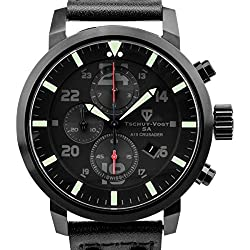 Tschuy-Vogt SA A15 Crusader Mens Swiss Chronograph Watch - Black Genuine Leather Strap, Black Dial, Black Case