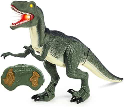 Best Choice Products Remote Control Velociraptor RC Walking Dinosaur Lights & Sounds Kid Pet Toy Animal