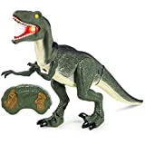 Best Choice Products 21in Kids Large Walking Moving Velociraptor Dinosaur Remote Control Pet Animal RC Toy Figure w/ Lights, Sound - Green