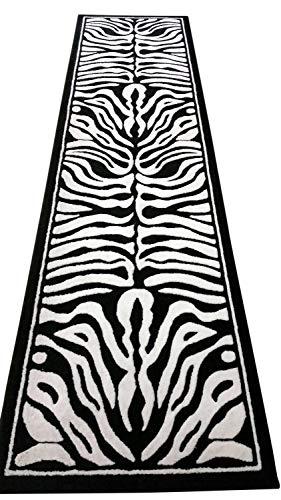 Americana Animal Skin Print Zebra Long Runner Rug Black and Pure White Design #132(32in.X15ft10in.)