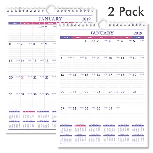 2019 Calendar - 2 Pack Desk/Wall Calendar 2019 for Family and Office, 2019 Monthly Calendar Planner with Bonus Notes Pages, January 2019 - December 2019, Wirebound, 8 x 11 - Poluma