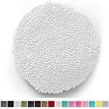 Gorilla Grip Original Shag Chenille Bath Rug Toilet Lid Cover, 19.5 Inchx18.5 Inch Large Size, Machine Washable, Ultra Soft Plush Fabric Covers, Fits Most Size Toilet Lids for Bathroom, White