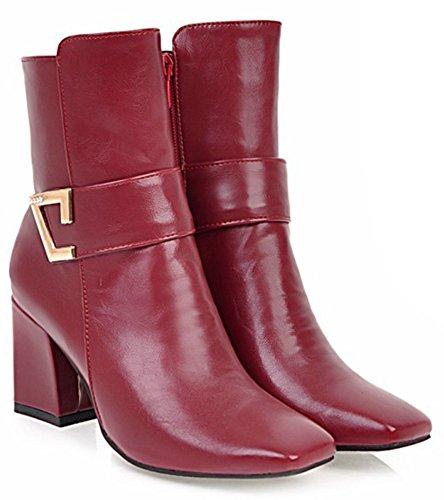 Aisun Kvinna Mode Fyrkantig Tå Inuti Zip Upp Dressat Tossor Blockerar Mitten Hälen Boots Med Dragkedja Rött