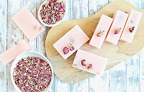 Zaaina - 100% Natural Rose Petal Soap Bar - Handmade, Vegan Rose Bud Soap - Dried Flower Petals Soap Bar - Skin Beautifying Rose Water Soap With Moisturizing Oils and Natural Earth Pigments - 4.6 oz