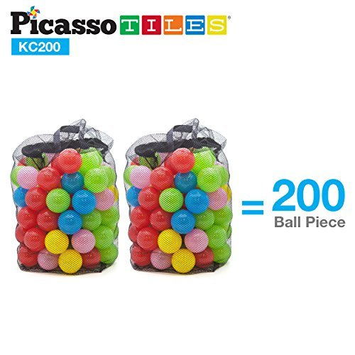 PicassoTiles 200pc 2.3inches BPA Free Crush Proof Plastic Ball Premium Non-Toxic Soft Pit Balls Phthalate-Free for Bounce House Swim Pit Tent Jumping Playhouse in 5 Vibrant Colors w/ Mesh Carry Bag