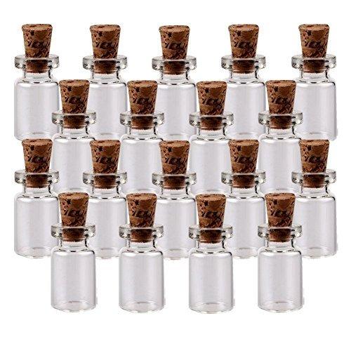 Butterme 100 Stück Mini Glasflasche mit kleine Glasflaschen Korkenflaschen Tops 3/4