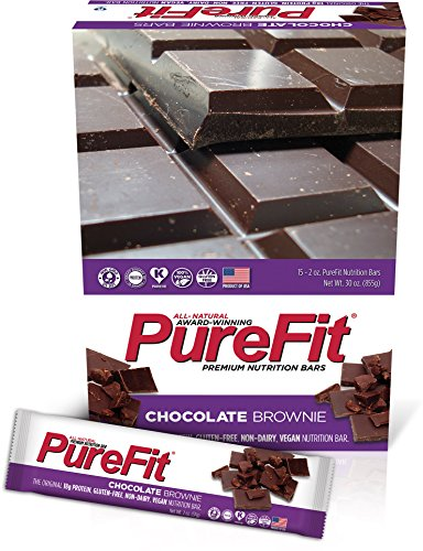 PureFit Gluten-Free Nutrition Bars with 18 grams Protein: Chocolate Brownie, 2 oz Bars, Pack of (Kosher Brownie)