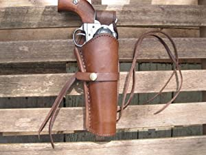 "Western Gun Holster - Brown - Right Handed 22 Caliber Single Action Revolver - Size 6"" - Smooth Leather"