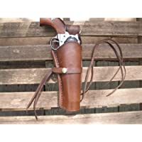 """Western Express - Right - for 6"""" Brown Smooth Leather Gun Holster (.22 .38 Caliber)"""