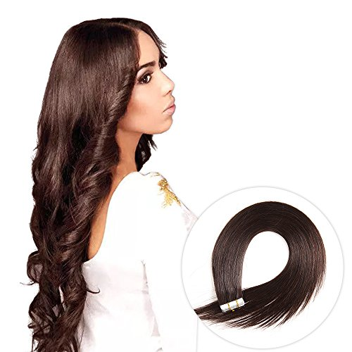 (Tape in Hair Extensions human hair 20pcs Silky Straight Remy Tape Hair Extensions (20,)