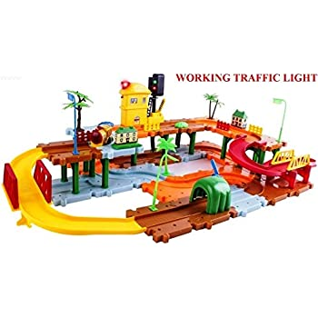 Amazon Com Wolvol Big Train Tracks Set Toy For Kids With Upper And