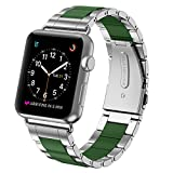 Greeninsync Apple Watch Bands 42mm Metal, Special Edition Stainless Steel Wristbands Buckle Clasp Watch Strap Replacement Bracelet W/ Silicone Cover Army Green for Apple Watch Series 3/2/1