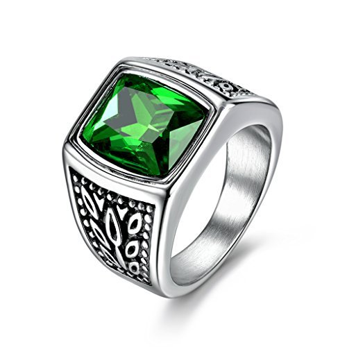 (MASOP Mens Stainless Steel Ring Large Green Emerald Color Square Stone Ring Size 10)