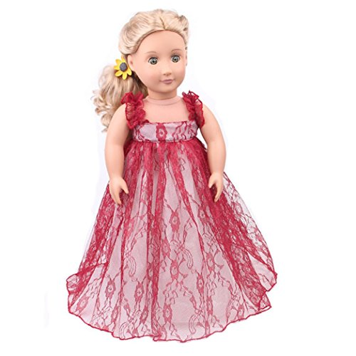 Wensltd Doll Clothes for 18 Inch Dolls Pretty Lace Dress Fits American Girl Dolls (Red)