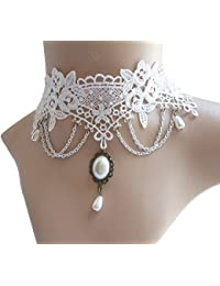 Vintage Lace Gothic Style Tassel Pendant Choker Victorian Palace Princess Lolita Necklace Bracelet