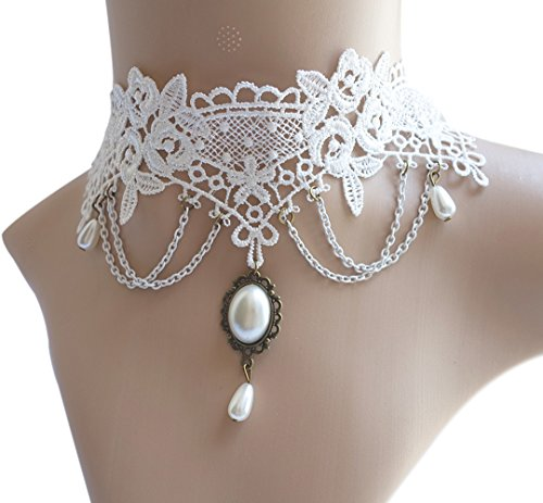 Eternity J. Vintage Lace Gothic Style Tassel Pendant Choker Victorian Palace Princess Lolita Necklace