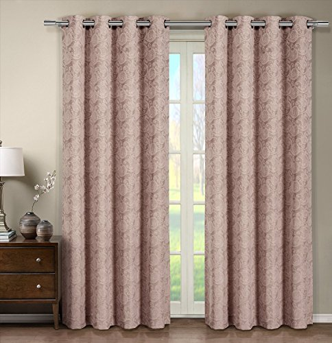 Tabitha Blush Grommet Jacquard Window Curtain Panel, 1 Single Panel, 54×108 inches, by Royal Hotel For Sale