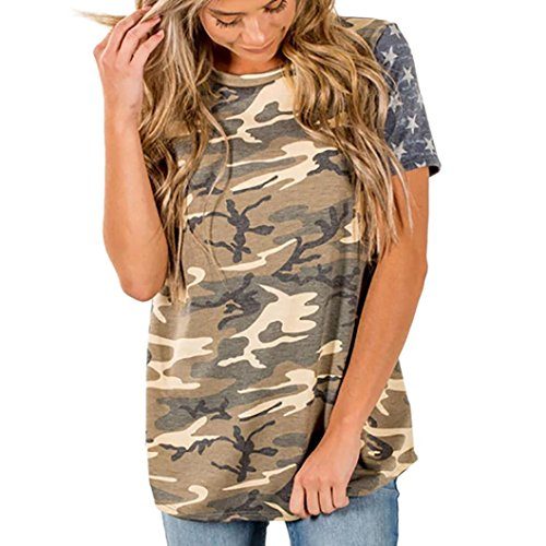 Todaies Womens Camouflage Tops Print American Flag Sexy Short Sleeve Tops Blouse T-Shirt Tee (L, Multicolor)
