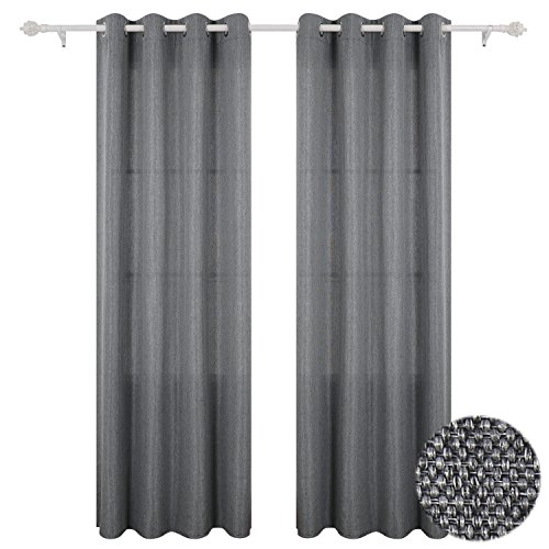 - Deconovo Room Darkening Grommet Panels Linen Look Curtains for Dining Room 52x84 Inch Grey 1 Pair