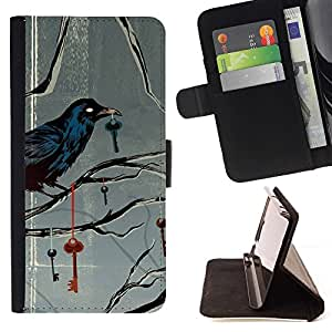 For LG OPTIMUS L90 Key Metaphor Deep Gray Grey Beautiful Print Wallet Leather Case Cover With Credit Card Slots And Stand Function