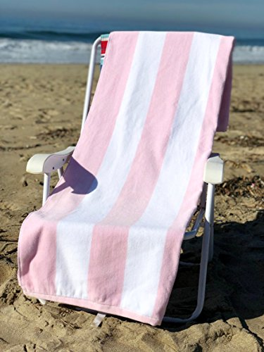 (Ephesus Beach Towel Cabana Striped One Side Terry and One Side Velour 100% Turkish Cotton - Pink - Set of 1)