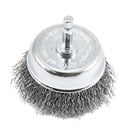 Forney 72731 Wire Cup Brush, Coarse Crimped with 1/4-Inch Hex Shank, 3-Inch-by-.012-Inch