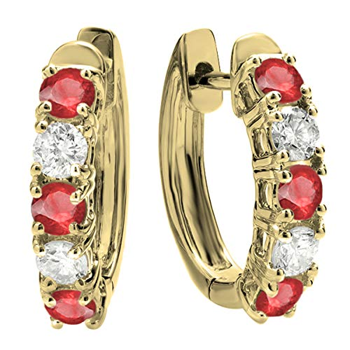 Dazzlingrock Collection 14K Round Ruby & White Diamond Ladies Huggies Hoop Earrings, Yellow Gold