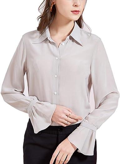 DISSA S7084 - Blusa de seda para mujer, 100 % seda, cuello de ...