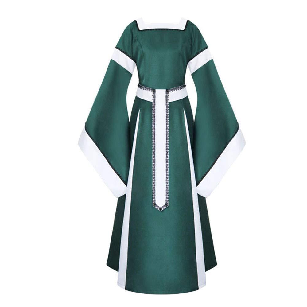 Sunyastor Womens Medieval Dress Renaissance Costumes Irish Over Long Dress Cosplay Retro Gown Gothic Costume Green