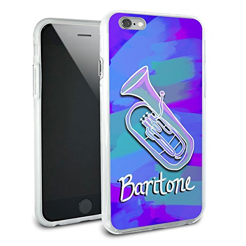 Baritone - Musical Instrument Music Brass Band - Blue and Purple Military Dog Tag Keychain